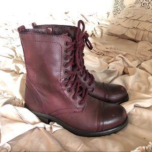 Steve Madden Burgundy Combat Boots